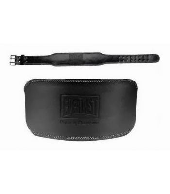 Everlast Black Leather Padded Weight Lifting Belt 4inch